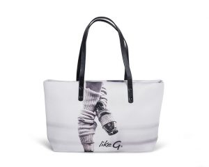 Borsa shopper con stampa punte in neoprene