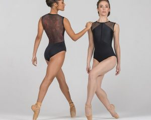 Body con microrete stampata Ballet Rosa, mod. Rae