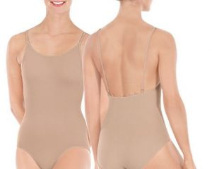 Adult Comfort Fit Smooth Camisole Leotard with Low Back and Removable, Adjustable Matching and Clear Straps Multi Position Back Tabs